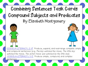 Task Cards Combining Sentences Subjects and Predicates