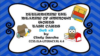 Task Cards Context Clues Set # 3 Determining the Meaning o