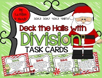 Deck the Halls with DIVISION ~ Task Cards {4.NBT.6, 4.OA.3