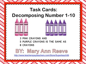 Task Cards: Decomposing Numbers 1-10 Crayons