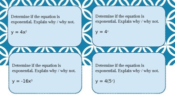 Task Cards: Determine if the function is exponential.