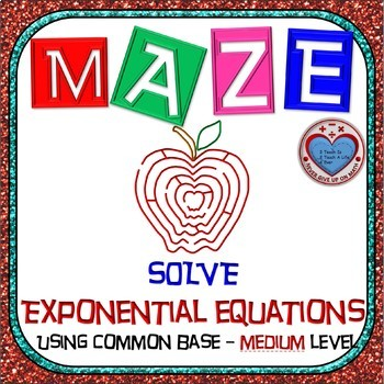 Maze - Exponential Functions-  Solving Exp Fxns using Comm