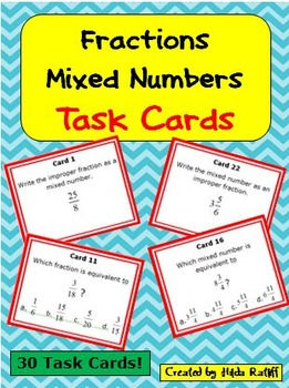 Task Cards - Equivalent Fractions and Mixed Numbers
