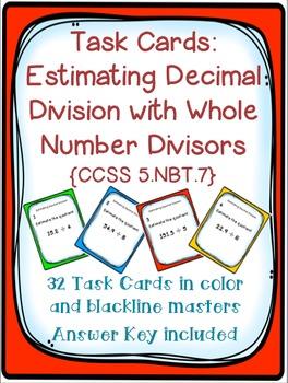 Task Cards: Estimating Decimal Division [Whole Number Divi