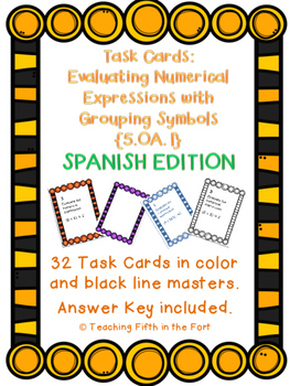 Task Cards: Evaluating Expressions [Grouping Symbols] 5.OA