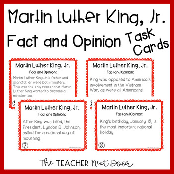 Task Cards: Fact and Opinion - Martin Luther King, Jr. for