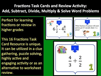 Fractions Task Card REVIEW GAME - Grades 4-6 {Common Core