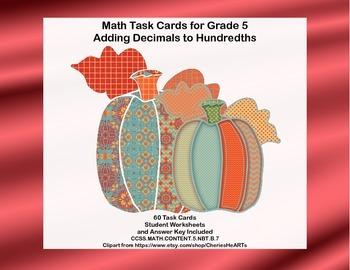 Task Cards-Grade 5- Adding Decimals to Hundredths-CCSS.Mat