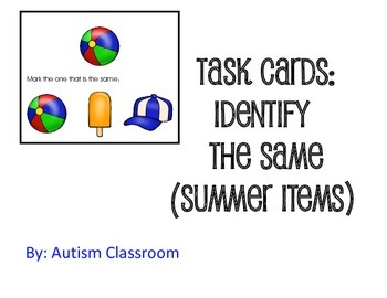 Task Cards -Identify the Same (Summer Items) by Autism Classroom