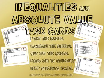 Task Cards - Inequalities and Absolute Value Equations