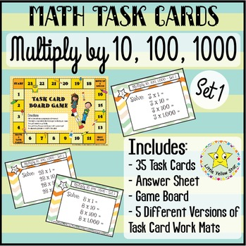 Task Cards - Multiply by 10, 100, and 1000 {Set 1} ***Freebie***