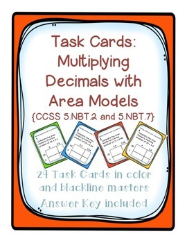 Task Cards: Multiplying Decimals with Area Models 5.NBT.2