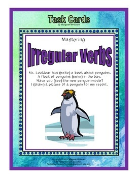 Task Cards Parts of Speech Irregular Verbs (CCSS Aligned)