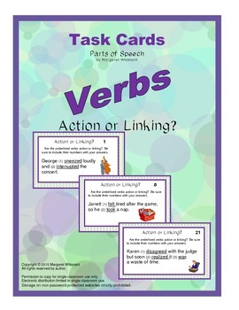 Task Cards Parts of Speech Verbs  Action or Linking (CCSS