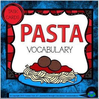 Task Cards Pasta Vocabulary