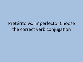 Task Cards: Pretérito e Imperfecto: Choose The Correct Ver