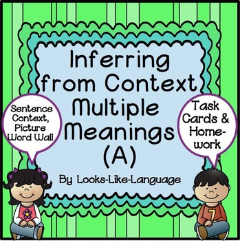 Multiple Meaning Vocabulary Task Cards- Inference, Languag