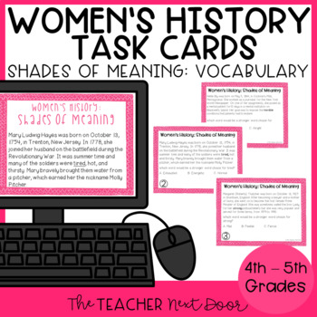 Task Cards: Shades of Meaning Words for Women's History Mo