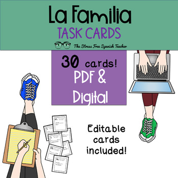 Task Cards: Spanish, Family Vocabulary Practice (and the v