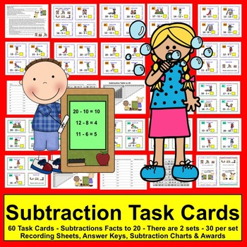 Summer Math: Task Cards-Subtraction Facts to 10 - Two sets