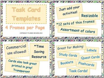 Task Cards Thin Frames – Four per Page – Commercial Use