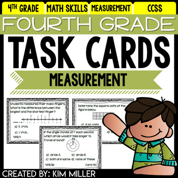 4th Grade Math Review: Task Cards - Measurement & Data - 4.MD