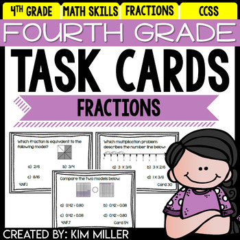 Fourth Grade Math Review: Task Cards - Fractions - 4.NF