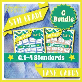 5th Grade Math Task Cards Bundle for ALL Geometry Common C