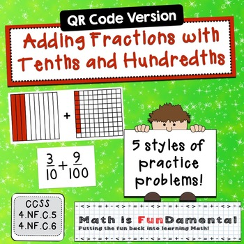 Task Cards for Adding Fractions with Tenths and Hundredths