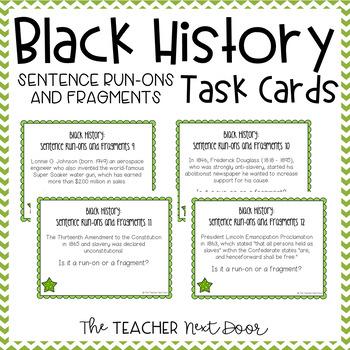 Task Cards for Black History: Sentence Run-Ons and Fragmen
