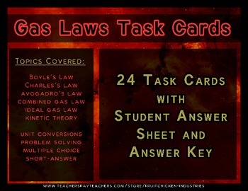 Task Cards for Gas Laws with Answer Key and Student Respon
