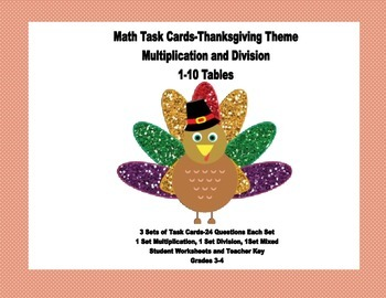 Multiplication and Division Practice Grades 3-4 Thanksgivi