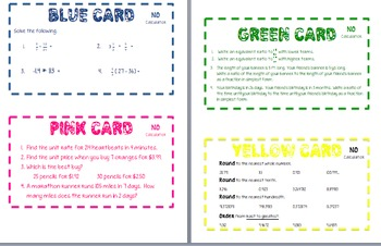 Task Cards for Rates, Ratios, & Proportions