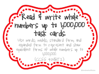 Task Cards for Reading & Writing Numbers up to 1,000,000