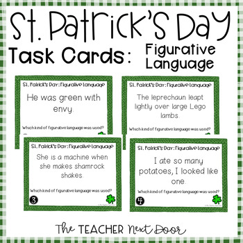 Task Cards for St. Patrick's Day Figurative Language for 3