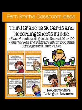 Third Grade Math Task Cards for Add + Sub Within 1000 and