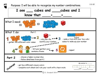 Task Cards for number combination AMC 5