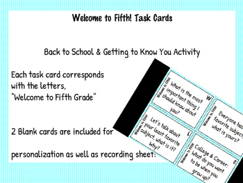 Welcome to Fifth Grade Task Cards