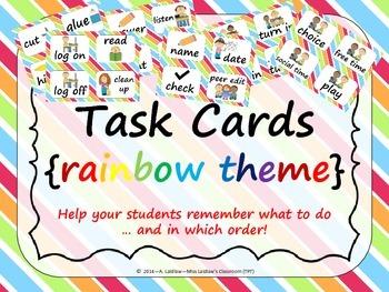 Task Order / Next Step Cards {Rainbow Theme} -  (Canadian/