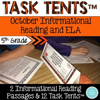Task Tents™ - October Informational Reading & ELA {5th Grade}