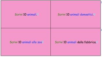 Task cards in Italian