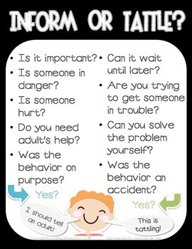 Tattling Poster - Responsive Classroom Character Education