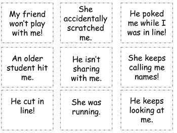 Tattling Social Skills Cards