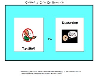Tattling vs Reporting - A Social Story and Adapted Book