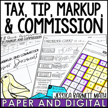 Tax, Tip, Markups and Commission Lesson Bundle