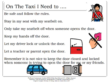 Taxi Rules - Social Story