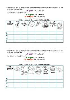 ¿Te gusta..?: Spanish Speaking activity about food likes a