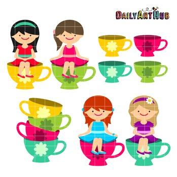 Tea Cup Girls Clip Art - Great for Art Class Projects!