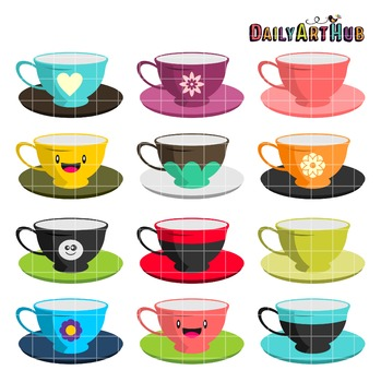 Tea Cups Clip Art - Great for Art Class Projects!