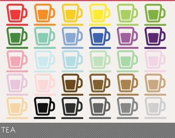 Tea Digital Clipart, Tea Graphics, Tea PNG, Rainbow Tea Di